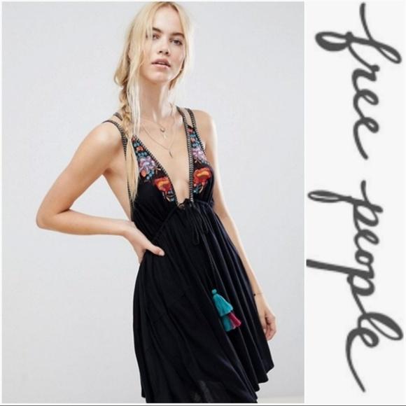 Free People Dresses & Skirts - NWT FREE PEOPLE BLACK EMBROIDERED DRESS * RESTOCK!